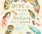Feathers Art Print | Hope | Emily Dickinson Watercolor Quote | Katie Daisy Wall Art | 8x10 | 11x14
