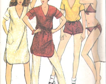 Butterick 6536 1980s John Kloss Misses Bikini Cover Up Top Pull On Pants Shorts  Pattern Womens Vintage Sewing Pattern Size 14 Bust 36 UNCUT