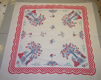 Vintage Tablecloth Sweet Apple Picking Couple