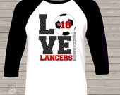 Soccer mom chevron LOVE three quarter sleeve ADULT raglan baseball shirt