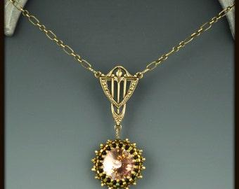 Beaded, Bead woven Swarovski Crystal Necklace