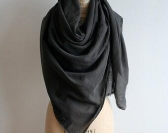 Sale , Dark Gray Cotton Scarf, Large Unisex, Printed Text