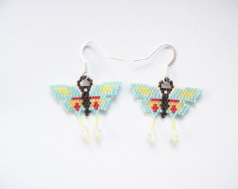 Beaded Butterfly Earrings ,  Butterfly Beadwork Earrings ,  Dangle Beaded Earrings ,  Handmade Earrings ,  Seed beaded earrings