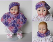 Huggums Purple and Pink Poncho Set, Baby Doll Clothes, Doll Poncho, Headband or Cowl, Crochet Doll Clothes, Fits Huggums Dolls