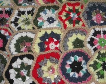 Crocheted Hexagon Granny Square Chic Motifs Singles Lot (20) Mandala Style Multi Colored New Free Shipping