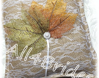 Fall leaves lace and burlap wedding ring pillow.  Rustic ring bearer pillow.