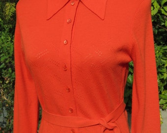 Orange Vintage Sweater Dress Pointelle Design So Bright and Pretty!