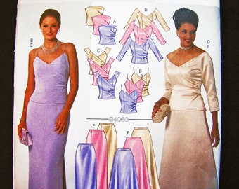 Butterick Dress Pattern Misses size 12 14 16 UNCUT Bridesmaid, Mother of Bride, Groom Long Skirt, Top, Shoulder Wrap Sewing Pattern
