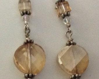 Earrings - light topaz Swarovski crystals,