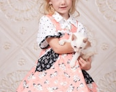 Girls Birthday Dress - Girls Boutique Outift - Skater Dress - Kitten Fabric - Boutique Dress - Skater Skirt - sizes 2T to 10 Years