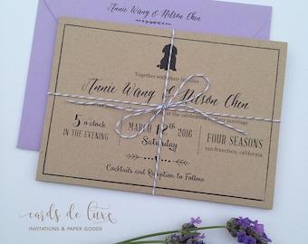 Rustic Kraft Trifold Wedding Invitation Suite, Monogram Set, Rustic Elegance, Dog Motif