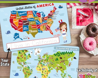 united states of america and world map placemat personalized placemat for kids laminated double
