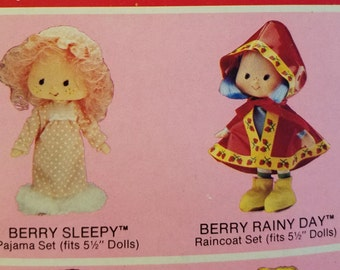 "NIB Strawberry Shortcake Berry Wear Outfits, Berry Sleepy and Berry Rainy Day, fits 5 1/2"" dolls, 1981"