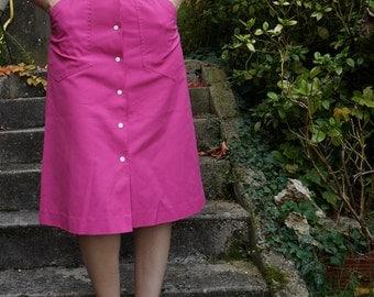 vintage 70s 1970 pink  bubblegum skirt snap buttons a-line pin up beach summer