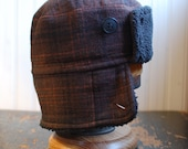 Furry Russian M: warm winter earflap bomber style hat in brown plaid wool tweed