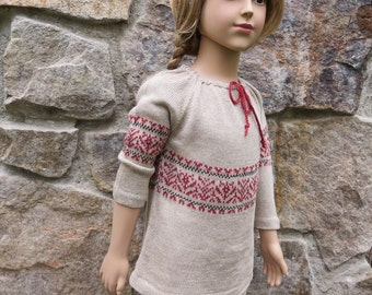 Knit Pure Linen Peasant Blouse for Toddler Girl Round Neck - Jaquard /Fair Isle/Intarsia