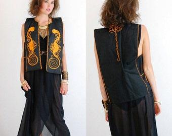 Folk Festival Vest Vintage 70s Black Ethnic Mexicana Braided Folk Hippie Vest (m l)