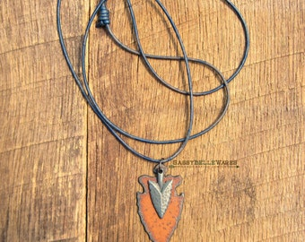 Double Arrowhead Leather Necklace rustic rocker vibe distressed rust gunmetal black spearhead adjustable long length