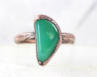 Raw Crystal Ring Chrysoprase Ring Raw Stone Ring Raw Crystal Ring Green Stone Ring Natural Stone Ring Crystals and Stones Size 7 1/2
