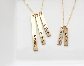 Engraved Birthstone Bar Necklace - Tag Necklace Name Mother Necklace Engraved Custom Personalized Gift Child Names Initials Necklace