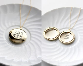 Engraved Locket Necklace - Large Locket Necklace Personalized Gift Necklace Custom Locket Silver Locket Gold Locket Personalized Gift