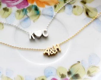 Initials Necklace, Uppercase Silver or Gold Letter Bridal Gift Personalized Bridesmaid Wedding Uppercase Monogram Initials Lover Dainty