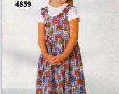 Girls Dress Pattern Pullover Jumper Dirndl Skirt Very Easy Butterick 4859 See & Sew Size 4 5 6 Uncut