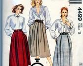 Vintage Skirt Pattern Size 12 McCalls 4499 Full Skirt with Pleats Zipper Pockets Uncut
