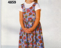 Girls Dress Pattern Pullover Jumper Dirndl Skirt Very Easy Butterick 4859 See & Sew Size 4 5 6 Uncut