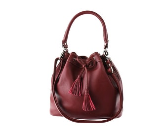 SALE - Burgundy leather bag, leather purse, handbag, leather bag for women, handmade leather bag, crossbody bag, tote bag, drawstring bag
