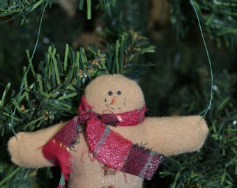 Handmade Christmas Ornament, Snowman with RED PLAID Scarf, Fleece Snowman with 3 buttons