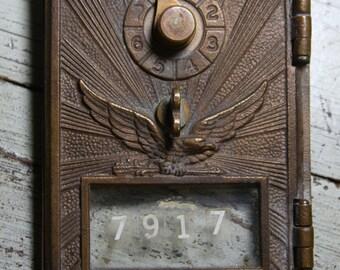 Vintage POST OFFICE Box Door- Metal with EAGLE Sunburst Design- Keyless Postal Box