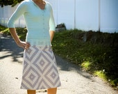 Geometric Gray and Cream A-line skirt, New Joel Dewberry Flora, Custom Made, All Sizes XS to Plus