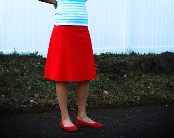 Ruby Red Cotton Linen Blend A-Line Skirt, Classy Skirt, More Colors Availible, Custom Made, You choose Fitted, Comfy, Loose