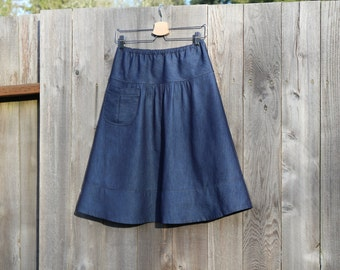 Dark Denim Semi Gathered skirt with a Pocket, LIGHT WEIGHT DENIM A-line Skirt  size women's hip sizes 30-56 inches