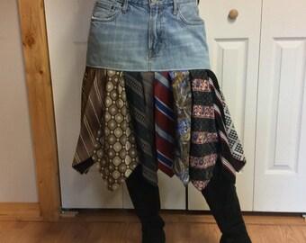 LG Blue Jean Skirt with Recycled Neckties/Women's Size 14/Midi Skirt/Pleated Skirt/Denim Skirt/Silk Ties/Upcycled Repurposed Clothing
