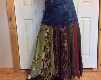 Long Denim & Necktie Skirt/Womens Plus Size/Blue Jean Skirt/High Waisted/Upcycled Recycled Repurposed Clothing/Red and Gold/Size 18 XL Tall