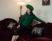 Vintage 1940s Dress - The BEST Emerald Green Striped Wool Jersey Strong Shoulder 40s Dress with Drop Waist Black Skirt