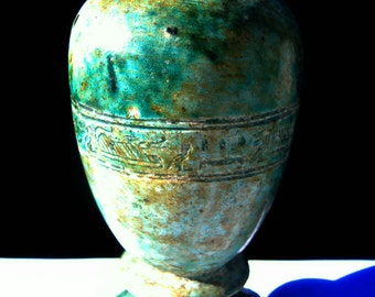 Vintage Egyptian Hieroglyphic Hand Made Faience Glazed Ceramic Stone Vase Ceremonial Urn