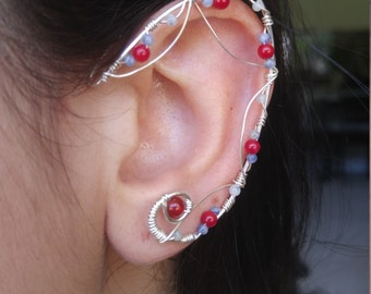 Sterling Silver Elf Ear Ear Cuff  w/ quarts and red coral gemstones & unique wirework Elf Ears, Elvish, Elven Ears, Pixie Ears, Fairy Ears,