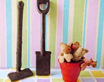 Vintage Dollhouse Miniature Metal Gardening Garden Tools Shovel Hoe Potted Plant Flowers