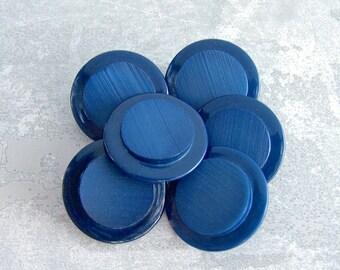 Lapiz Blue Buttons, 27mm 1-1/8 inch - Classic Blue Retro Mod Shank Buttons - 6 VTG NOS Dark Cobalt Blue Raised Center Buttons PL010
