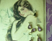 Six Tiny Vintage Swarovski Teardrop Charm Lt Amethyst Purple GP Rhinestone Connector