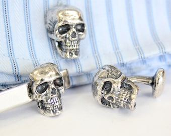 Skull Cufflinks And Tie Clip Set Silver Human Skull Cuff links and Tie Bar Clasp 492 129