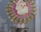 Tree Topper, Vintage style Pink Santa by Stacy Marie