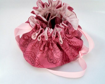 Travel Jewelry Bag, Cotton Jewelry Pouch, Rose Pink Paisley, Small Drawstring Bag