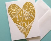 Gold Heart Thank You Card