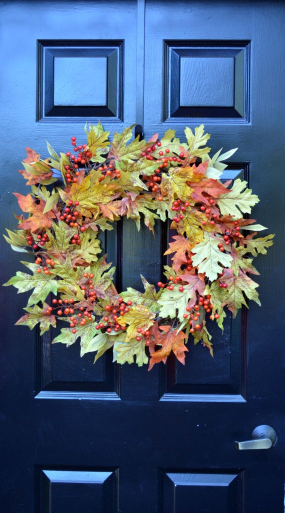 Fall Leaves Wreath- Fall Wreath- Fall Decor- Autumn Wreath- Fall Decor- Wreath with Bow- Front Door Wreath- Fall Leaves- Wall Decoration