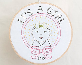 Its A Girl PDF Hand Embroidery Pattern