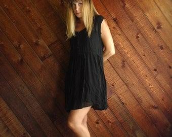 Sheer Black Chiffon Mini Babydoll Dress - Vintage 90s - MEDIUM M
